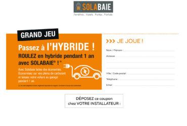 Coupon de participation au jeu concours Solabaie : gagner 1 an de voiture hybride ! 09-2019