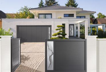 Porte d'entrée, portail et porte de garage ABOTT de la collection coordonnée Solabaie